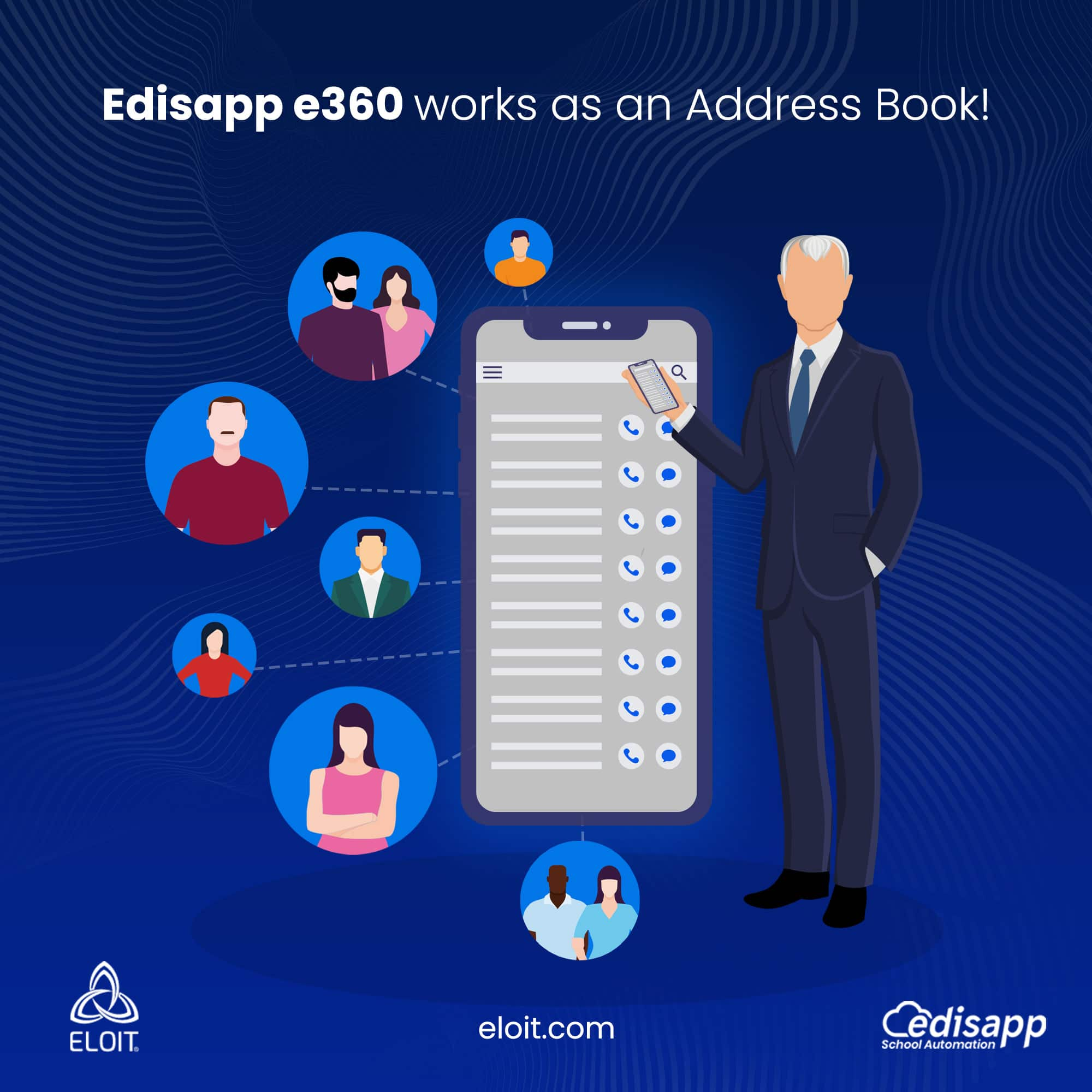 Edisapp-e360 works as a school address book with easy access to student and staff contact details