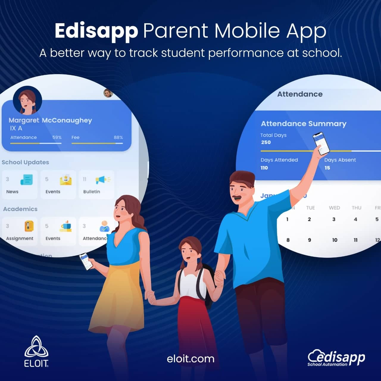 Edisapp Parent Mobile App integrated with the Best School Management System